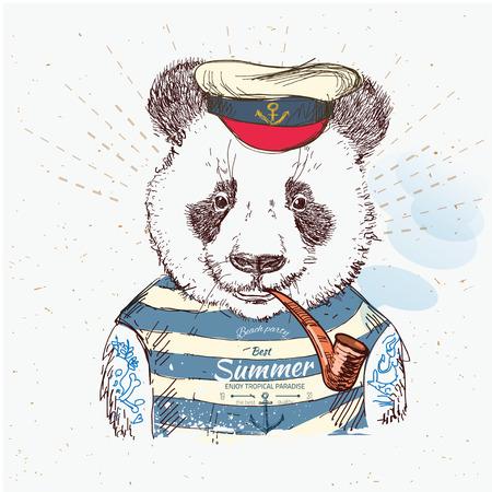 oso panda: Ilustración de la panda de piratas en el fondo azul en el vector