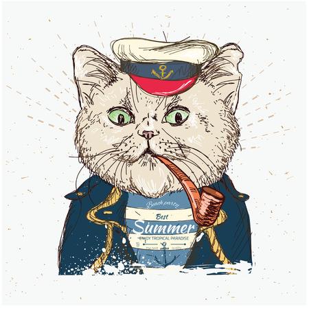 marinero: Ilustración del pirata del gato en fondo azul en el vector