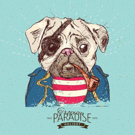 perros vestidos: Ilustración del perro del barro amasado del pirata en fondo azul en el vector
