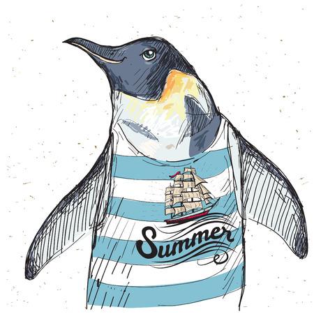 Illustratie van piraat pinguïn op geweven achtergrond in vector
