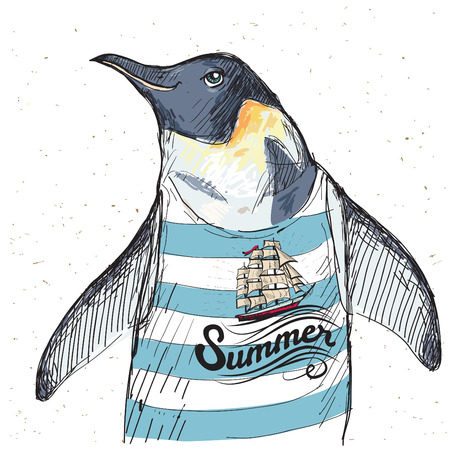 impresión: Ilustración del pingüino del pirata en el fondo de textura en el vector
