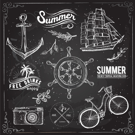 rudder: Vintage summer typography design with labels, icons elements collection
