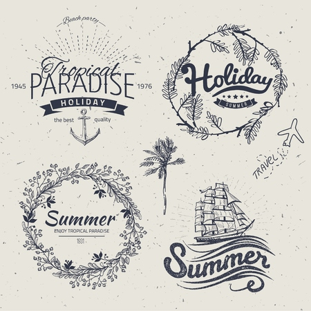 palm wreath: Vintage summer typography design with labels, Illustration