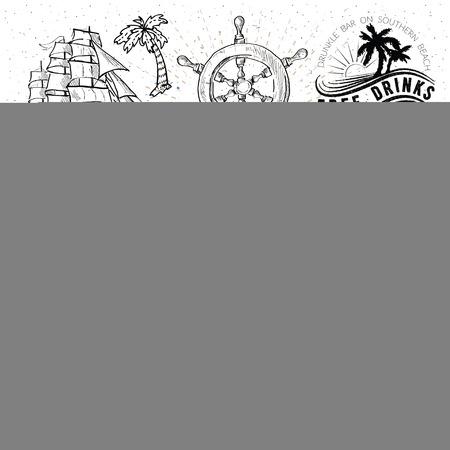 old compass: Pirates set. Hand drawn illustrations Illustration