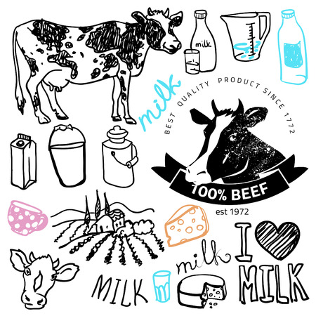 creamery: Set of milk and creamery labels,
