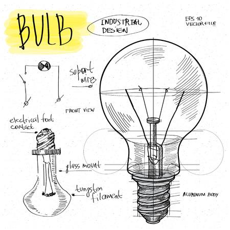 monochrome: vector sketch illustration - light bulb