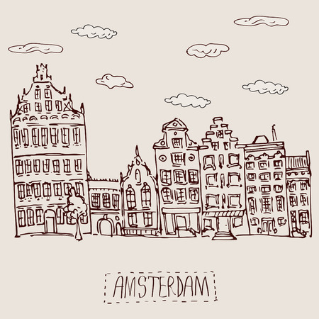 iconic architecture: Amsterdam canal houses  hand-drawn vintage textured illustration Illustration