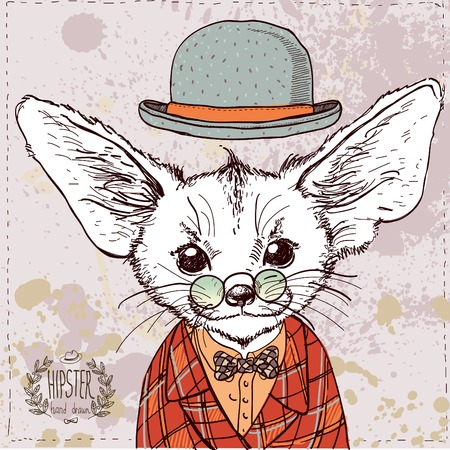 interesting: Fox vector card  hand-drawn vintage textured illustration Illustration