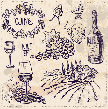 ripened: Hand drawn vector set - wine and winemaking.