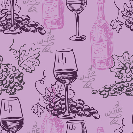 winemaking: Hand drawn pattern- wine and winemaking- chalkboard