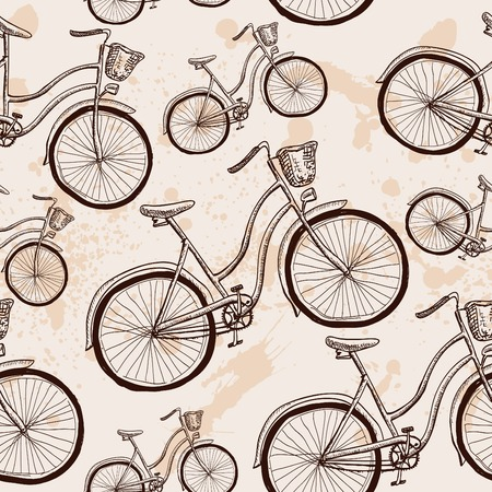 velocipede: Seamless bicycles pattern. Stylish sporty print vector illusrtration hand drawn