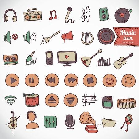 ilustration and painting: Hand drawn,doodle music icon set vector illusrtration hand drawn