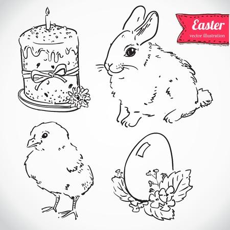 easteregg: Easter set. Hand drawn illustrations. Illustration