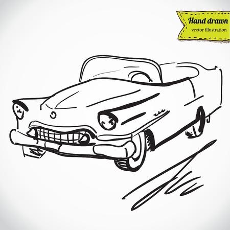 old car: retro car on white background, vector illustration. Illustration