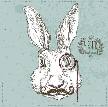 easter card: Hand Drawn Vector Portrait of Bunny  and Tuxedo, Party Look