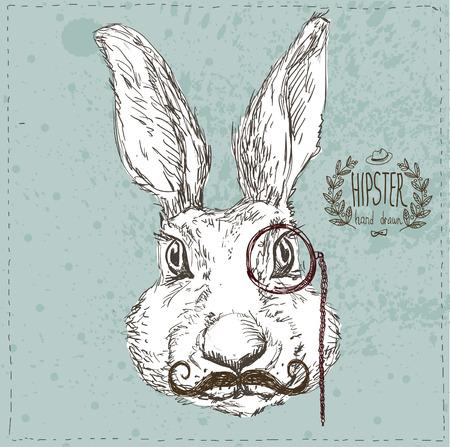 Mão Drawn Vector Retrato do coelho e do smoking, do partido Olhe