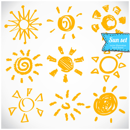 suns: Vector set of different suns isolated, hand drawn illustration.