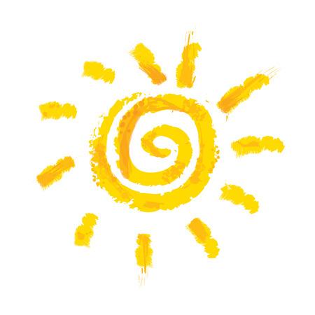 sol caricatura: Acuarela sol, rayos plana icono de la silueta aislado en el fondo blanco.