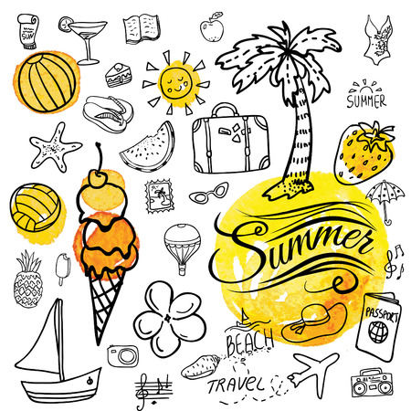pool: Set of  pretty vector doodle summer icons.