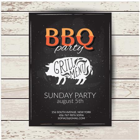 outdoor dining: Barbecue party invitation. BBQ brochure menu design.