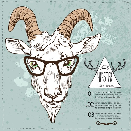 Hand Drawn Portrait of hipster goat.Vector sketchy illustration