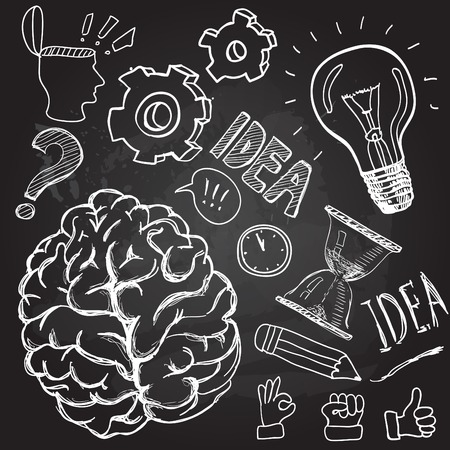 brain: Set of thinking doodles elements vector illustration hand drawn