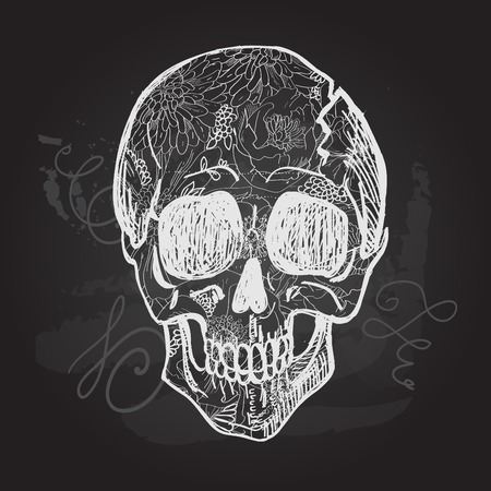 all saint day: Day of The Dead black and white Skull. Illustration