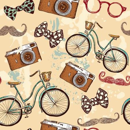 hipster seamless pattern vector illustration hand drawn