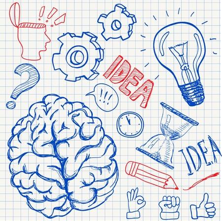 punto di domanda: Set di scarabocchi pensiero trarre elementi illustrazione vettoriale mano Vettoriali