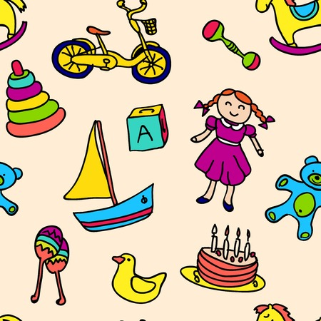 barbie: A variety of childrens toys vector illustration