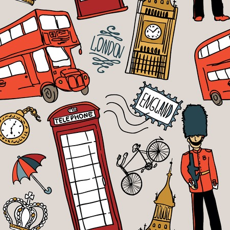 bus anglais: background anglais, griffonnage icône londres seamless