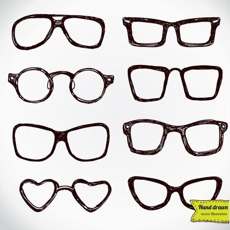 corrective lenses: eyeglasses isolated on white vector illustration hand drawn
