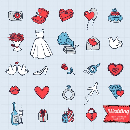 sketchy illustration: hand drawing doodle icon set, wedding sketchy illustration on grunge background.
