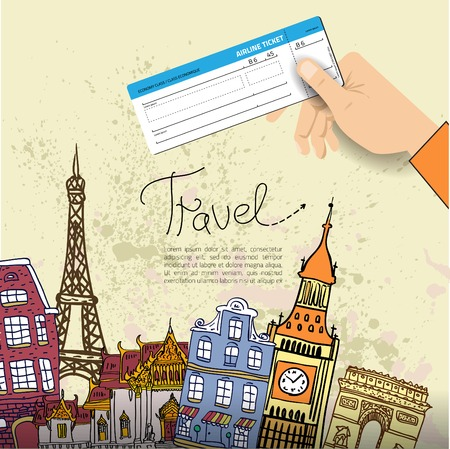 bigben: Airline ticket. Travel background.  All elements and textures are individual objects. Vector illustration scale to any size. Illustration