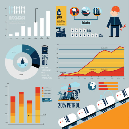 distillery: Global crude oil drilling and refining industrial process petroleum production distribution business infographic statistic presentation vector illustration Illustration