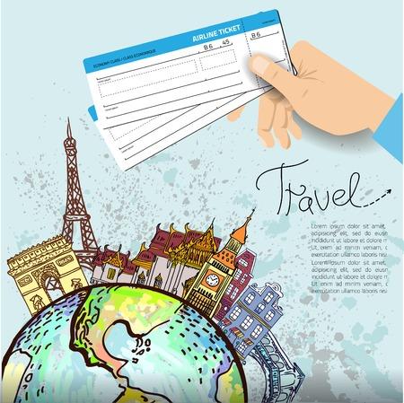 Biglietto aereo. Sfondo di viaggio. Tutti gli elementi e strutture sono diversi oggetti. Illustrazione portata a qualsiasi dimensione.