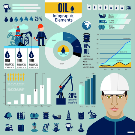 crude: Global crude oil drilling and refining industrial process petroleum production distribution business infographic statistic presentation vector illustration Illustration
