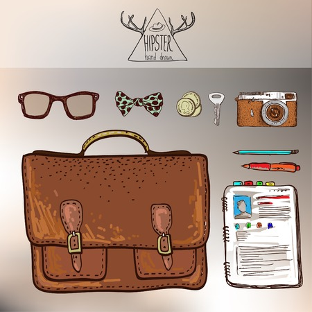 packsack: design concept vector illustration of every day carry and outfit accessories, things, tools, devices, essentials, equipment, objects, items. Icons collection in stylish colors. Man workspace