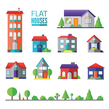 flat hoflat houses isolated icons, signs, symbols, illustrations, silhouettes, vectors setuses isolated icons, signs, symbols, illustrations, silhouettes, vectors set Vectores