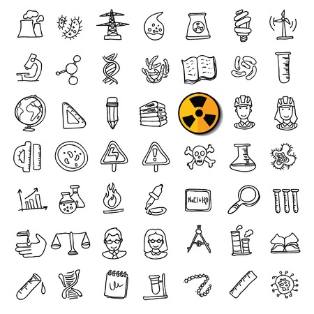 science icons: Black doodle science icons set