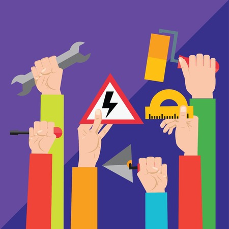 """implements: Crowd of workers holding a placard with """"Work hard!"""" slogan or place for other text. A lot of hands of workers up with building implements. Colorful vector illustration in flat style"""