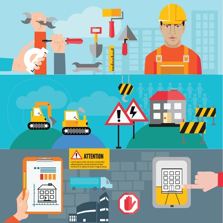 mapping: construction mapping, flat design element Illustration