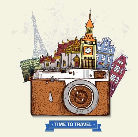 retro illustration: Travel photo background with retro camera and landmarks cards vector illustration