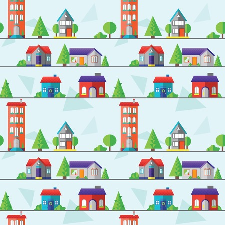 small town life: flat houses seamless pattern, vector illustration