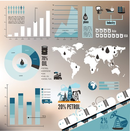Global crude oil drilling and refining industrial process petroleum production distribution business infographic statistic presentation vector illustration Vectores