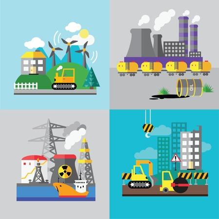electricity pole: Factory landscape, Ecology Concept - industry factory. Ecology Concept Vector Icons Set for Environment, Flat style vector illustration. Illustration