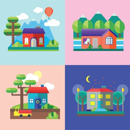 lake house: Color vector flat icon set and illustrations urban and village landscapes: nature, mountains, lake, boating, vacation, sun, trees, house, mills, field, city, factory, pollution, cars, skyscrapers