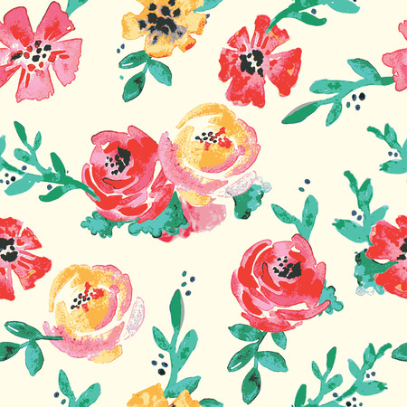 wallpaper floral: flowers watercolor original pattern seamless design