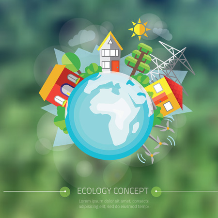global village: vector illustration of city with tree around Earth