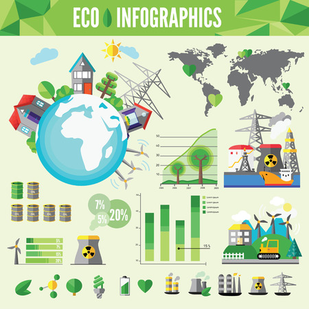 Ecology Infographic, vector illustration.